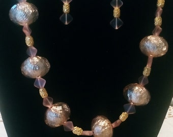 Pale Pink Glass Necklace and Earrings