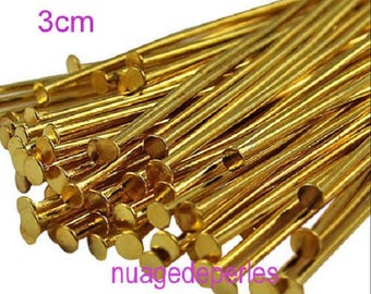 30 head pins gold flat nail pins 3cm