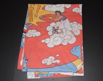 Disney Aladdin Vintage Twin Size Flat Fabric Bed Sheet