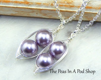 Set of two peas in a pod necklaces, best friends necklace set, sisters necklace