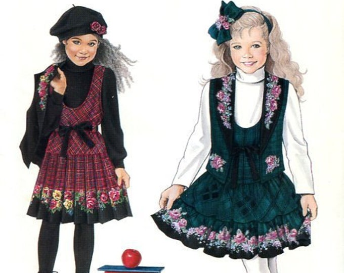 FREE US SHIP Daisy Kingdom 1994 Sewing Pattern Simplicity 0688 9167 Girls Drop Waist  Jumper Vest Uncut Size 5 6 7 8 Shown with Rose Fabric