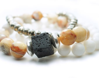 Natural Crazy Lace Agate Bracelet Set . Natural Stones . Sterling Silver Disks . Black Lava . White Coral . Pyrite . Aromatherapy