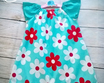 Girls Peasant Dress, Child Peasant Dress, Floral Dress, Children's Dress, Cotton Dress, Age 3/4 Years