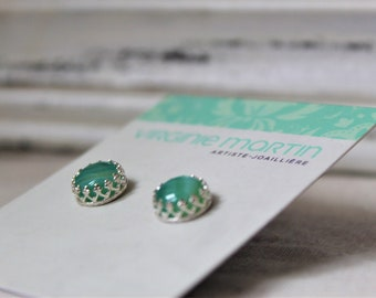 Sterling silver and Banded Agate Studs Earrings - Handmade jewelry Green
