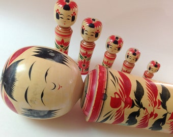 Vintage Large Kokeshi Doll And Family, Hand Painted, Signed Wooden Japanese Kokeshi Peg Doll Family of Six