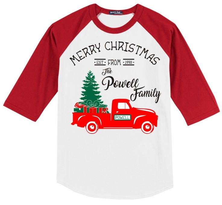 Personalized Christmas Vintage Truck T Shirt 3 4 Slv Raglan With Merry From The Family Est Date Several Sleeve Color Options