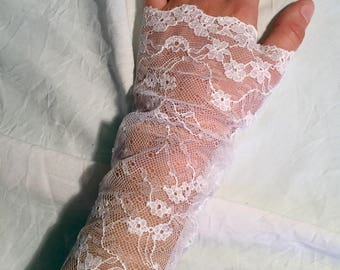 Floral, white lace fingerless mittens, perfect wedding!