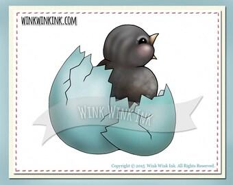 Digital Stamp - Hatched - baby bird in an egg printable digi image