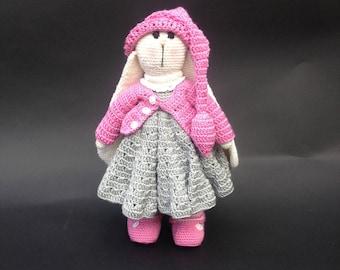 Amigurumi Bunny Pencil Holder : White bunny toy plush bunny stuffed knit bunny cute bunny