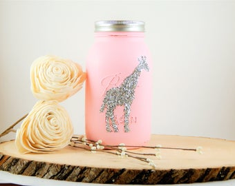 Giraffe Mason Jar Piggy Bank. Christmas Gift for Niece Daughter. Personalized Gift for Her. Unique Newborn Baby Girl. Princess Decoration