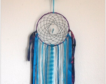 "Bohemian Dreamcatcher ""Eye of Mnemosyne"", sari silk and OWL feather"