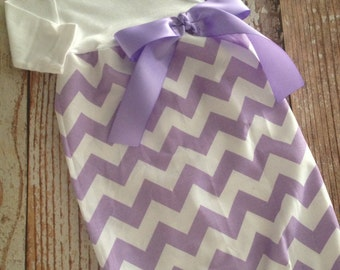Newborn Layette, Infant Gown, Baby Gown - Girl - Lavender Chevron