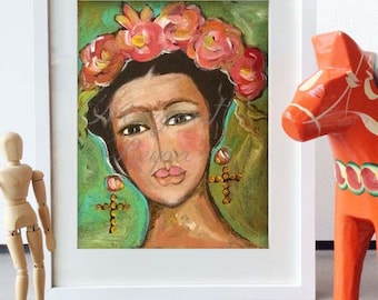 Frida Kahlo Wall Art - Mexican Folk Art Print from Original Painting
