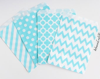 Baby Blue Paper Bags, Polka Dot Paper Bags, Chevron Favor Bags, Wedding Favors, Baby Shower Favors