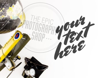 Print Background / Styled Stock Photography / Product Photography / Staged Photography / Blog Banner / Aviation Plane Globe Travel  / AR010
