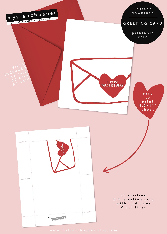 Printable Valentines Card Boyfriend Cute Valentines Day Card