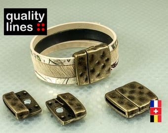 Bronze magnetic clasp for leather flat hole 20mm / 2mm bracelet