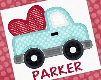 Personalized Valentine Truck with Heart Applique Shirt or Bodysuit Girl or Boy