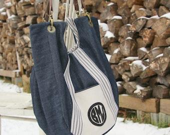 Monogram Purse Denim Bag Hobo Bag Denim Hobo Bag Vegan Hobo Bag Shoulder Bag Personalized Handbag Denim Satchel Denim Tote Monogram Tote