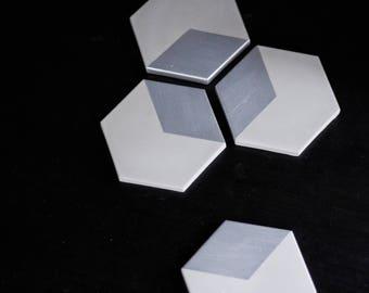 HEX Silver Concrete Coasters