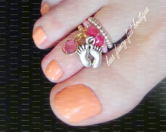 Stacking Toe Ring, Stacking Rings, Baby Girl Charm Toe Ring, Pink Austrian Crystal Toe Ring, Stretch Bead Toe Ring