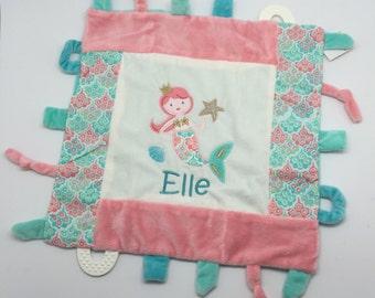 Personalized baby girl gift, toy tag blankie, Taggy Blankie, monogrammed shower gift, baby shower gift, taggie blanket, teether, mermaid