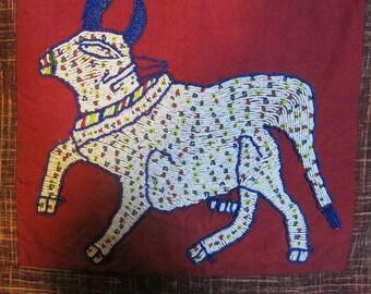 BUFFALO embroidery BEAD HANGING