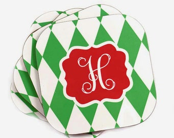 Personalized Coasters - Christmas - Inital Monogram Coaster Set - Red and Green Harlequin Coasters