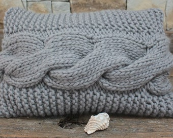 Chunky Knit Bed Pillow. Silver Throw Pillow. Silver Decorative Pillow. Chunky and funky. Aran Pillow. Chunky pillow. Decorative knit pillow.