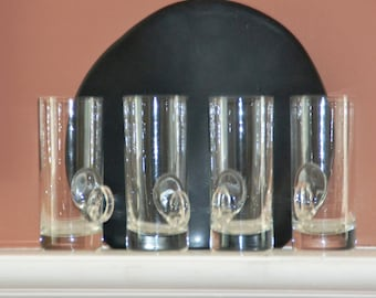 Four LENOX IRISH COFFEE Mugs / Cups. Vintage 70s. Crystal Clear with Weighted Bottoms & Finger Loop.  Marked Lenox U.S.A., Mint.