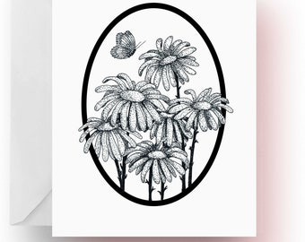 Pen and Ink Art, Flower Note Cards, Daisy Note Cards, Flower Lover Gift, Flower Stationery, Note Cards, Cards, Stationery