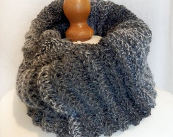 Infinity Scarf Versatile Chunky Striped Long Cowl Snood Circle Scarf Loop Scarf Neck Warmer Hood shades of grey charcoal stripey handknitted