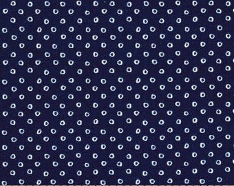 """32"""" Remnant Left, Cotton + Steel, SS Bluebird, Shibori in Navy, Navy and White Fabric, Small Polka Dots, Nautical Fabric, Navy Blue Blender"""