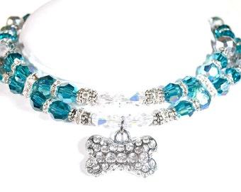 Caribbean Blue Swarovski Pet Necklace