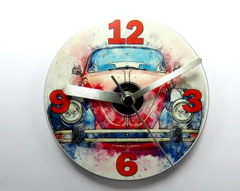 Beetle Car CD Clock, Red Beetle Clock, Beetle Car Gifts.