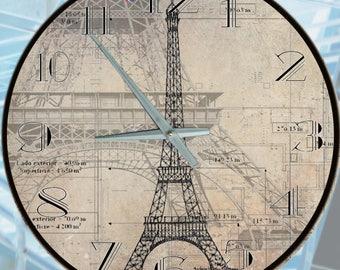 Wall Clock a 16 inch open face Wall Clock Non intrusive  Functional Art, The Eiffel Tower by Auburn/Gray Designs