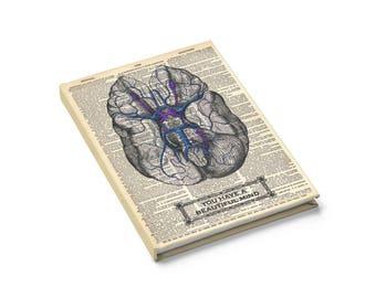 Brain Anatomy Notebook Journal - Blank Ruled Line, Vintage Anatomy Dictionary Art Print, Psychologist Psychology Gifts Teachers Gratitude