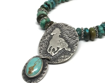 Turquoise Necklace, Wild Horse, Mustang Necklace, Art Jewlery, Sterling Silver, Hubei Turquoise Beads, Horse Medicine, Equine Necklace
