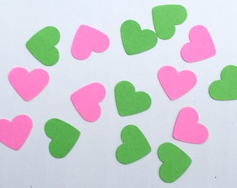 200 Heart Confetti Pink and Green Confetti Birthday Confetti Party Confetti Wedding Confetti Shower Confetti Die Cut Punch