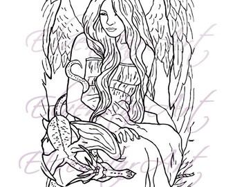 DIGI Stamp Printable Scrapbooking Card Making Crafts Fantasy Gothic Angel Dragon Wings Digital Stamp Download Coloring