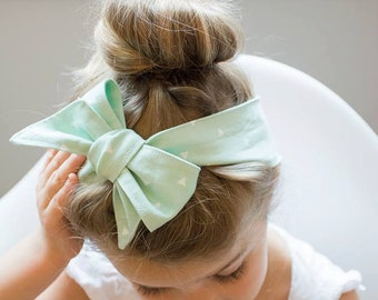 Big bow headband mint white triangles , baby girl oversized bow hair wrap, big baby bow, girl headscarf, women headscarf, retro style turban