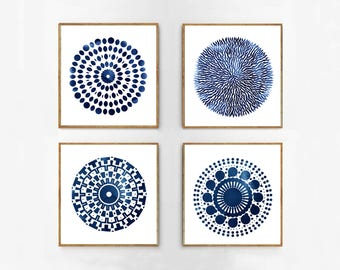 Abstract Art Prints Set Blue Watercolor Paintings Mandala Circles Geometric art Indigo blue Navy Coastal Decor Minimalist art Blue Paintings