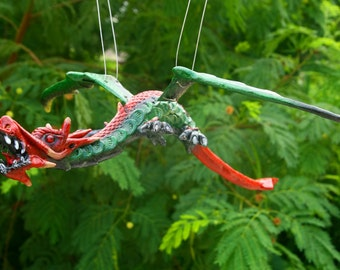 Red and Green Fantasy Flying Dragon Sculpture Dragon Mobile Collectible Decor