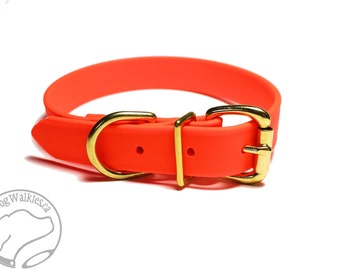 """Blaze Neon Orange 1"""" (25mm) Wide Biothane Dog Collar / Leather Look and Feel / Adjustable Custom Size / Stainless or Brass Hardware"""