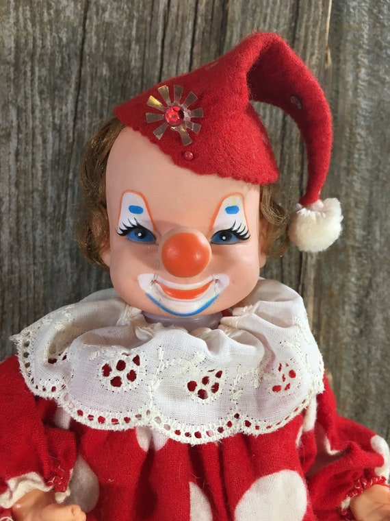 Vintage cute clown, vintage handmade felt and plastic clown, red and white clown, old stand up clown, clown decor, vintage scary clown