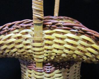 Basket Flower Girl Vintage Woven Light and Dark Natural Basket Wedding Gift Storage Home Decor Country Decor Cottage Chic Basket Collector