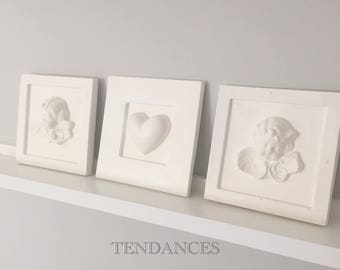 triptych of angels heart Angels 14.5 cm square plaster frame
