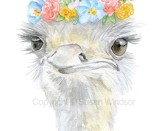 Ostrich Floral Watercolor Giclee - 4 x 6 - Watercolor Painting Fine Art Reproduction Print