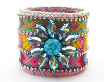 Crystal cuff bracelet, friendship bracelet cuff, Swarovski rainbow cuff, vintage rhinestone neon bracelet, bohemian jewelry, OOAK, boho chic