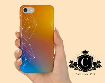 iPhone X Geometric Case, Samsung S6, S7, S8, S9 Geometric case, Rainbow iPhone Case, Orange Phone Case, Funky iPhone Case - CN-279